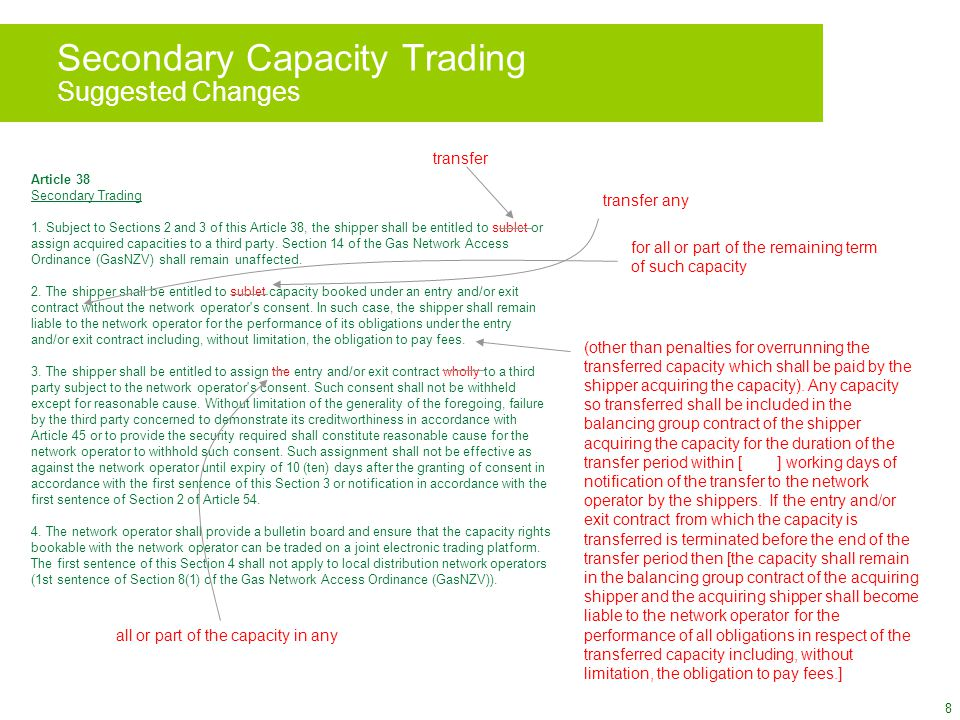 8 Secondary Capacity Trading Suggested Changes Article 38 Secondary Trading 1.