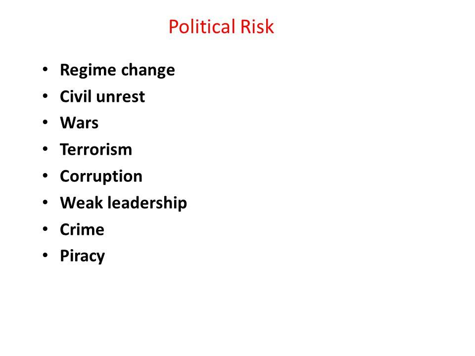 Political Risk Regime change Civil unrest Wars Terrorism Corruption Weak leadership Crime Piracy