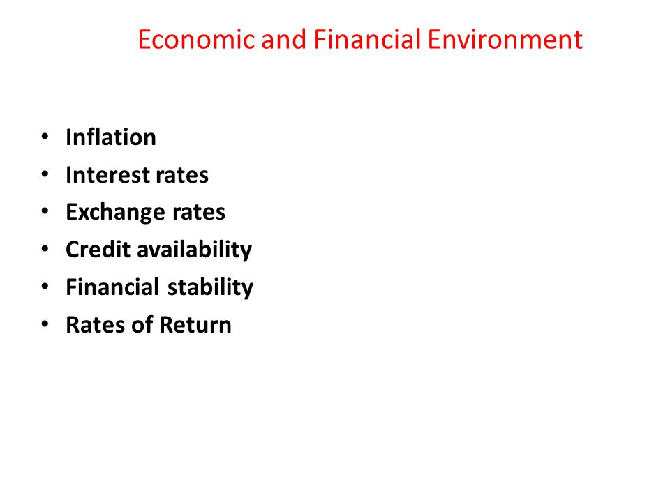 Economic and Financial Environment Inflation Interest rates Exchange rates Credit availability Financial stability Rates of Return