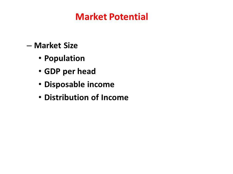 Market Potential – Market Size Population GDP per head Disposable income Distribution of Income