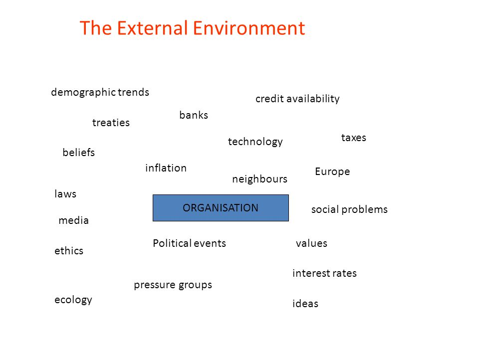 Political and Legal Environment Government regulation – Economic policy – Taxes/Incentives – Employment law – Health and safety law – Environmental policy – Competition policy