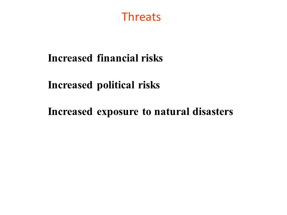 Threats Increased financial risks Increased political risks Increased exposure to natural disasters