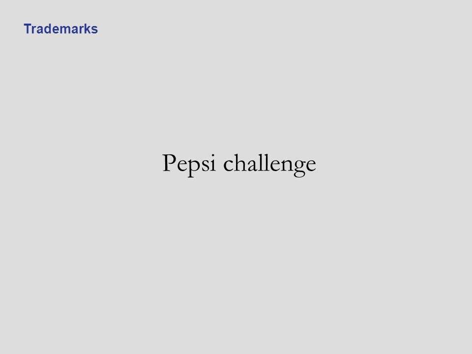 Pepsi challenge Trademarks