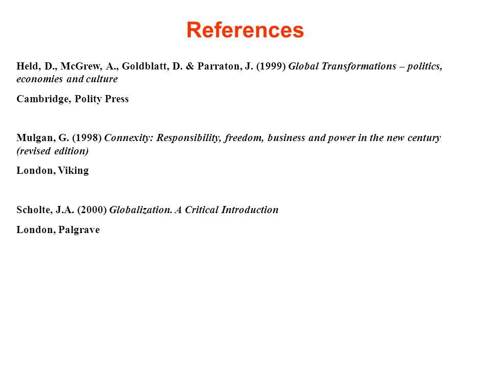 References Held, D., McGrew, A., Goldblatt, D. & Parraton, J.