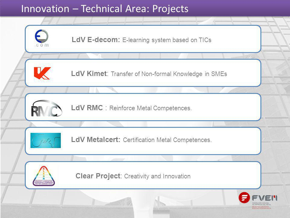 Innovation – Technical Area: Projects LdV E-decom: E-learning system based on TICs LdV Kimet: Transfer of Non-formal Knowledge in SMEs LdV RMC : Reinf