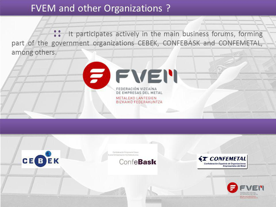 It participates actively in the main business forums, forming part of the government organizations CEBEK, CONFEBASK and CONFEMETAL, among others. FVEM