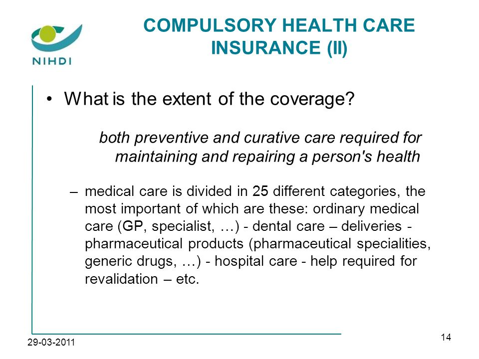 29-03-2011 14 COMPULSORY HEALTH CARE INSURANCE (II) What is the extent of the coverage.