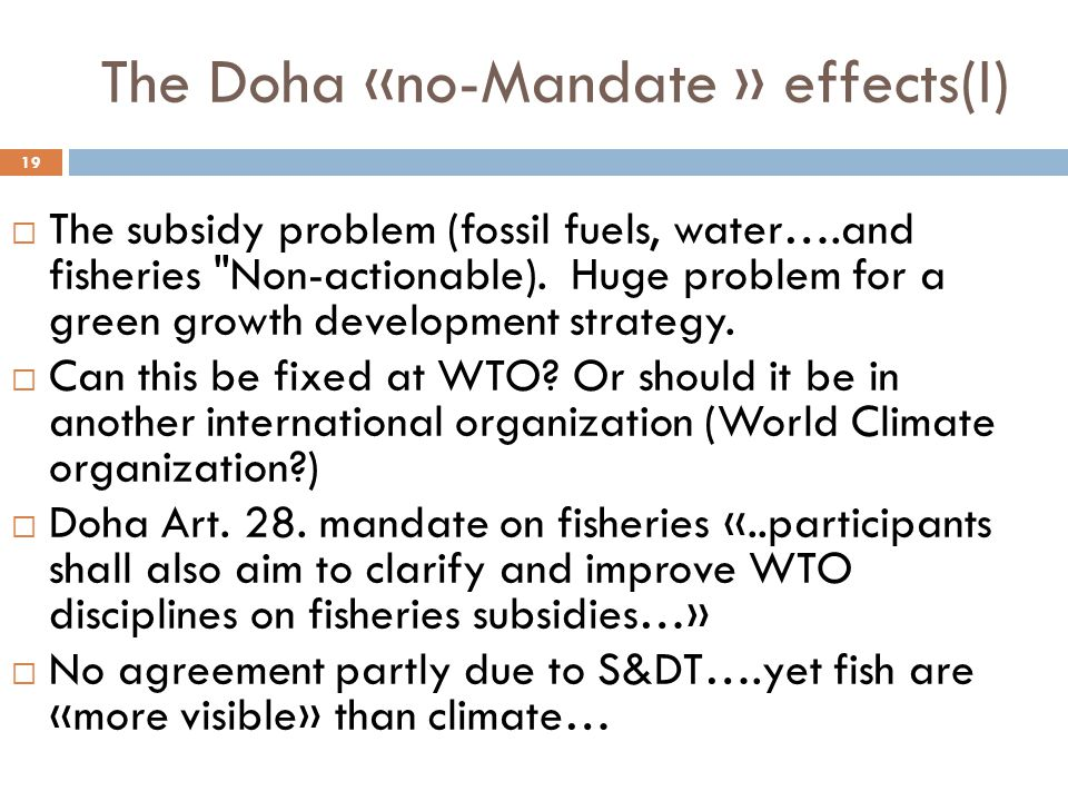 The Doha «no-Mandate » effects(I) 19  The subsidy problem (fossil fuels, water….and fisheries Non-actionable).