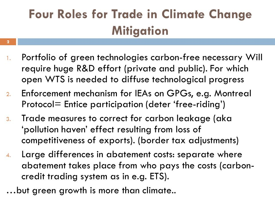 Four Roles for Trade in Climate Change Mitigation 2 1.