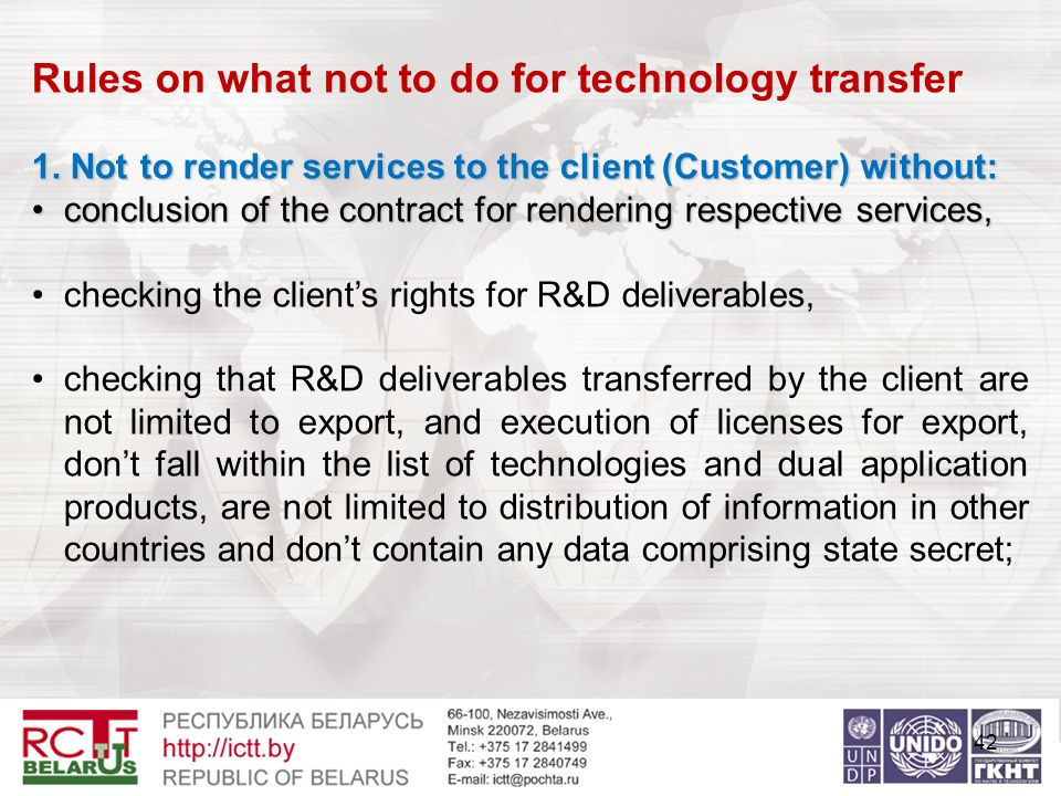 42 Rules on what not to do for technology transfer 1.