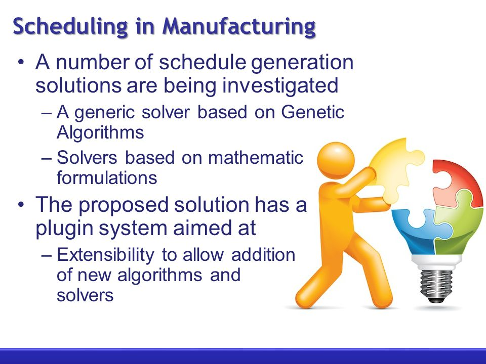 Scheduling in Manufacturing A number of schedule generation solutions are being investigated –A generic solver based on Genetic Algorithms –Solvers based on mathematic formulations The proposed solution has a plugin system aimed at –Extensibility to allow addition of new algorithms and solvers