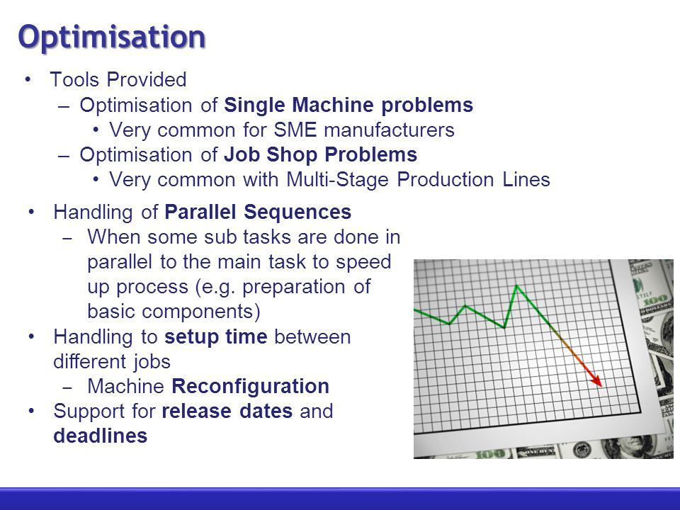 Optimisation Tools Provided –Optimisation of Single Machine problems Very common for SME manufacturers –Optimisation of Job Shop Problems Very common with Multi-Stage Production Lines Handling of Parallel Sequences ‒ When some sub tasks are done in parallel to the main task to speed up process (e.g.
