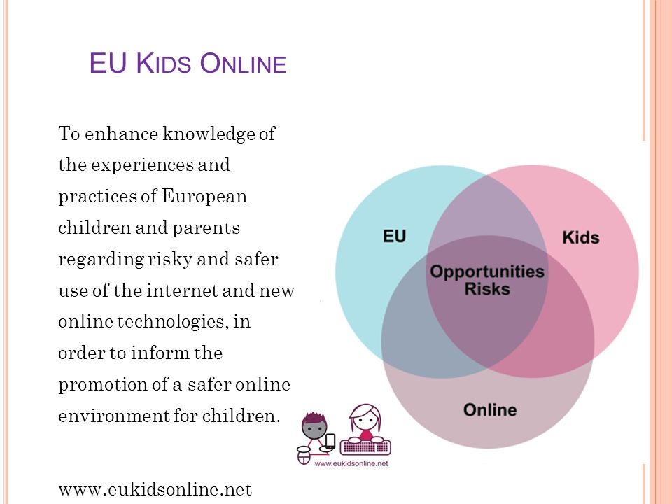 EU K IDS O NLINE To enhance knowledge of the experiences and practices of European children and parents regarding risky and safer use of the internet and new online technologies, in order to inform the promotion of a safer online environment for children.