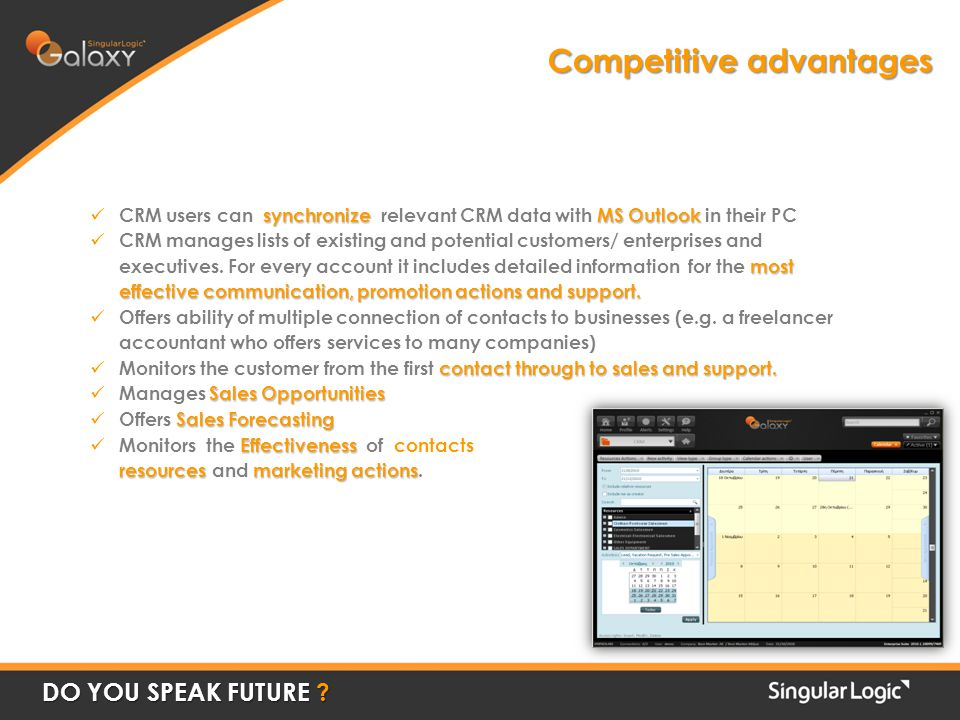 Competitive advantages DO YOU SPEAK FUTURE .