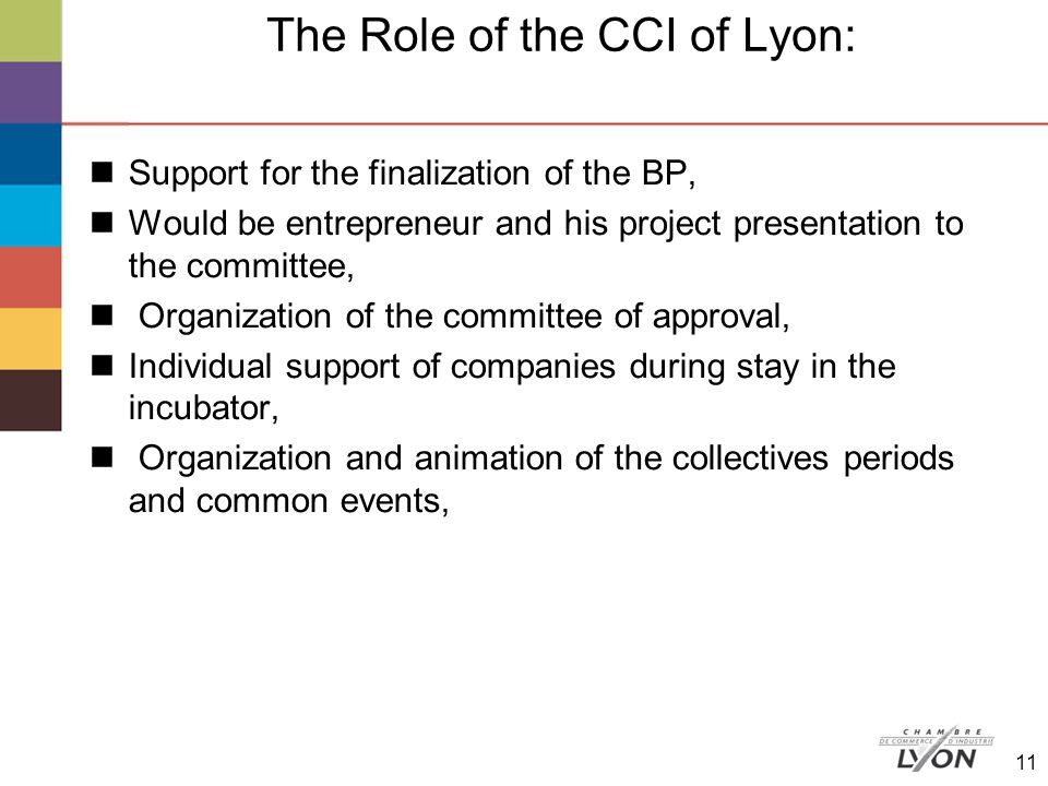 The Role of the CCI of Lyon: Support for the finalization of the BP, Would be entrepreneur and his project presentation to the committee, Organization of the committee of approval, Individual support of companies during stay in the incubator, Organization and animation of the collectives periods and common events, 11