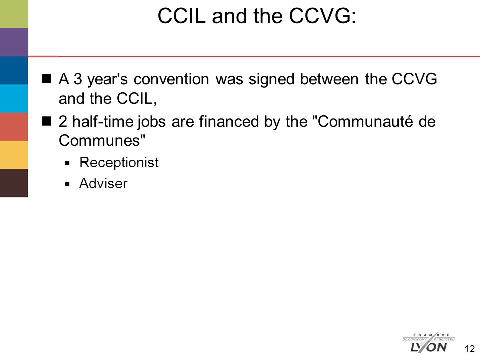 CCIL and the CCVG: A 3 year s convention was signed between the CCVG and the CCIL, 2 half-time jobs are financed by the Communauté de Communes  Receptionist  Adviser 12