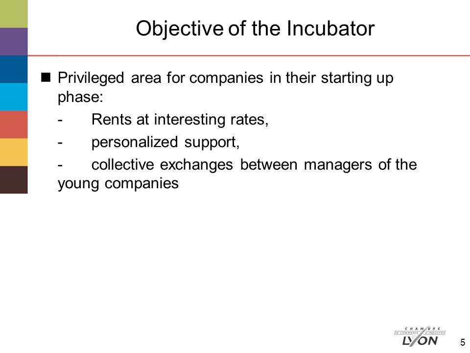 Description of the Incubator Building realized in a High Environmental Quality approach A building of 1 385 m2 at the entry of the business park, 15 offices of 13,45 m2, 3 workshops of 150 m2 and 2 workshops of 200 m2, common services: a meeting room, a cafeteria, a reception, a photocopier, a fax 6