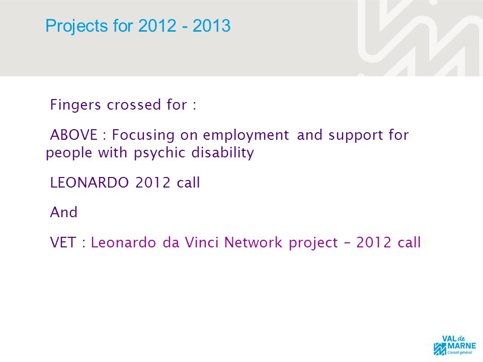 Projects for 2012 - 2013 Fingers crossed for : ABOVE : Focusing on employment and support for people with psychic disability LEONARDO 2012 call And VET : Leonardo da Vinci Network project – 2012 call