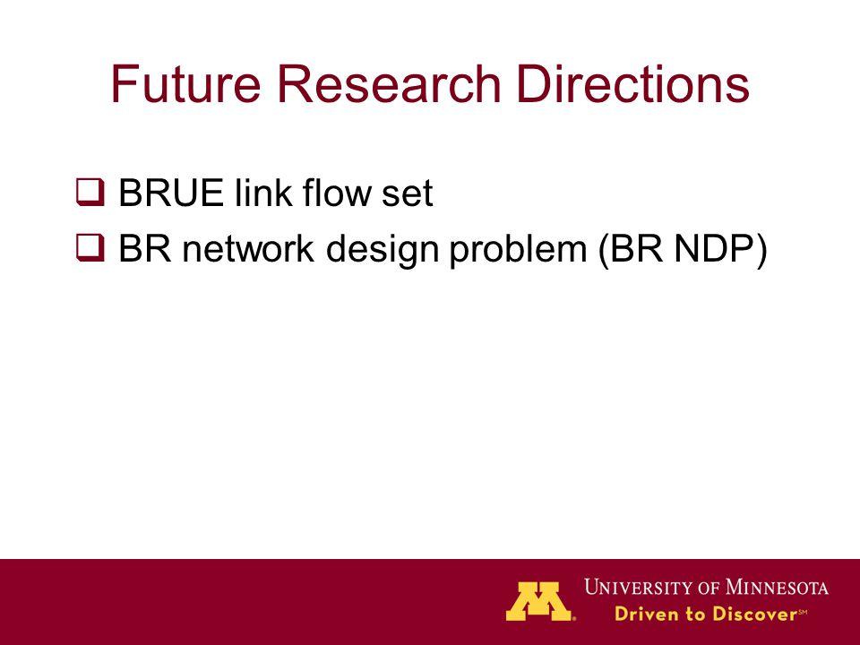 Future Research Directions  BRUE link flow set  BR network design problem (BR NDP)