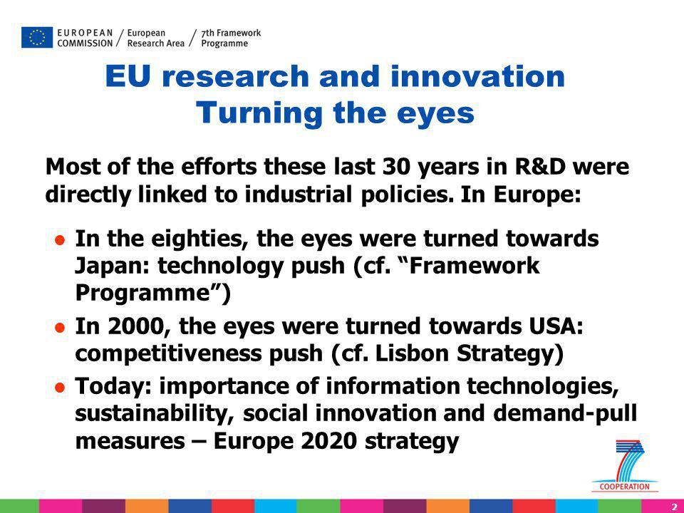 2 EU research and innovation Turning the eyes Most of the efforts these last 30 years in R&D were directly linked to industrial policies. In Europe: I