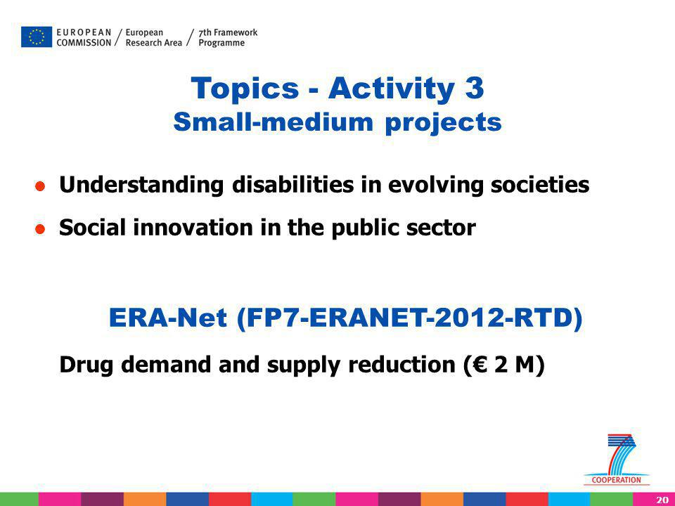 20 Topics - Activity 3 Small-medium projects Understanding disabilities in evolving societies Social innovation in the public sector ERA-Net (FP7-ERANET-2012-RTD) Drug demand and supply reduction (€ 2 M)