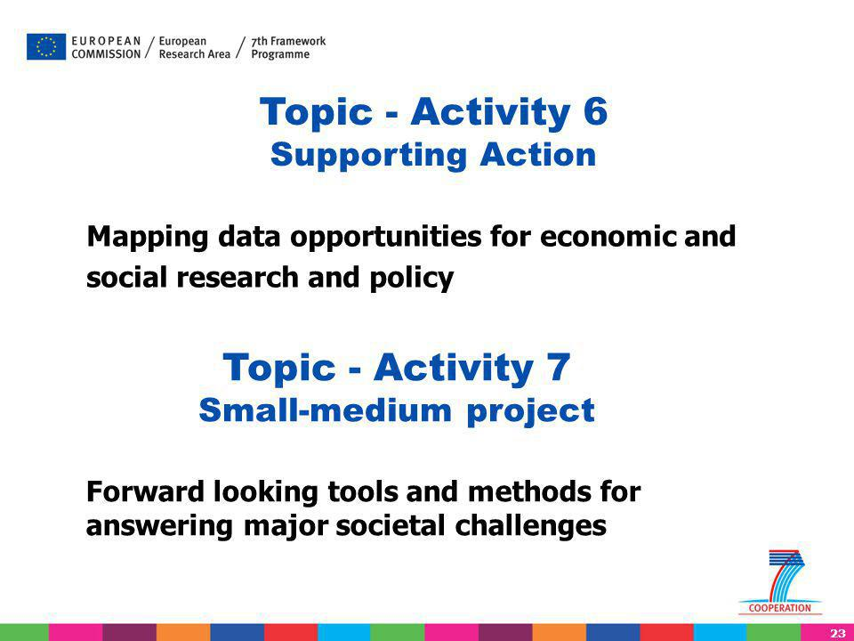 23 Mapping data opportunities for economic and social research and policy Topic - Activity 6 Supporting Action Topic - Activity 7 Small-medium project Forward looking tools and methods for answering major societal challenges