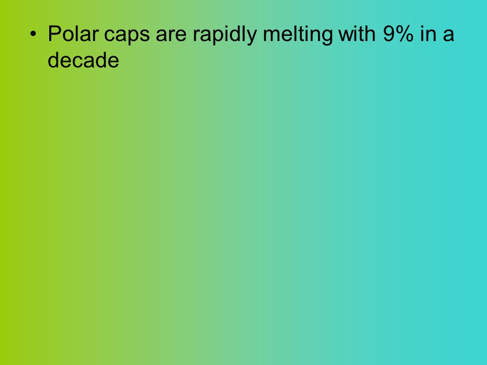 Polar caps are rapidly melting with 9% in a decade