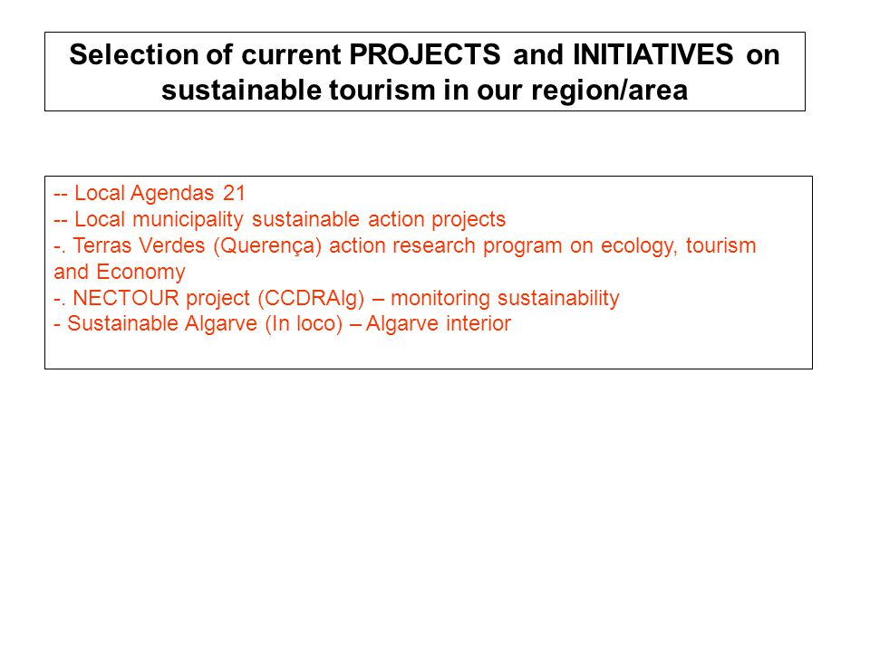-- Local Agendas 21 -- Local municipality sustainable action projects -.