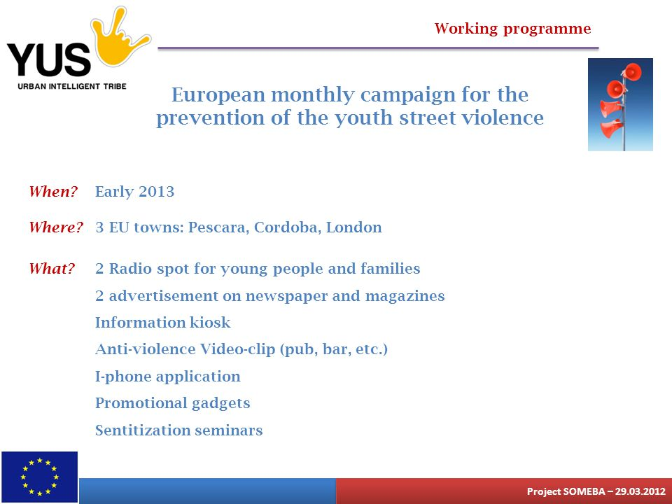 Working programme European monthly campaign for the prevention of the youth street violence When? Early 2013 Where? 3 EU towns: Pescara, Cordoba, Lond