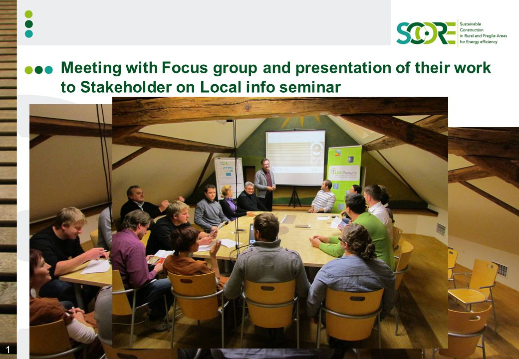 2 THE SLOVENIAN FOCUS GROUP Established at the end of year 2010 and beginning of year 2011 The members gather (via the national consortium of energy agencies, telop, verbal, acquaintanceship); the 1st active involved members are: Mr.