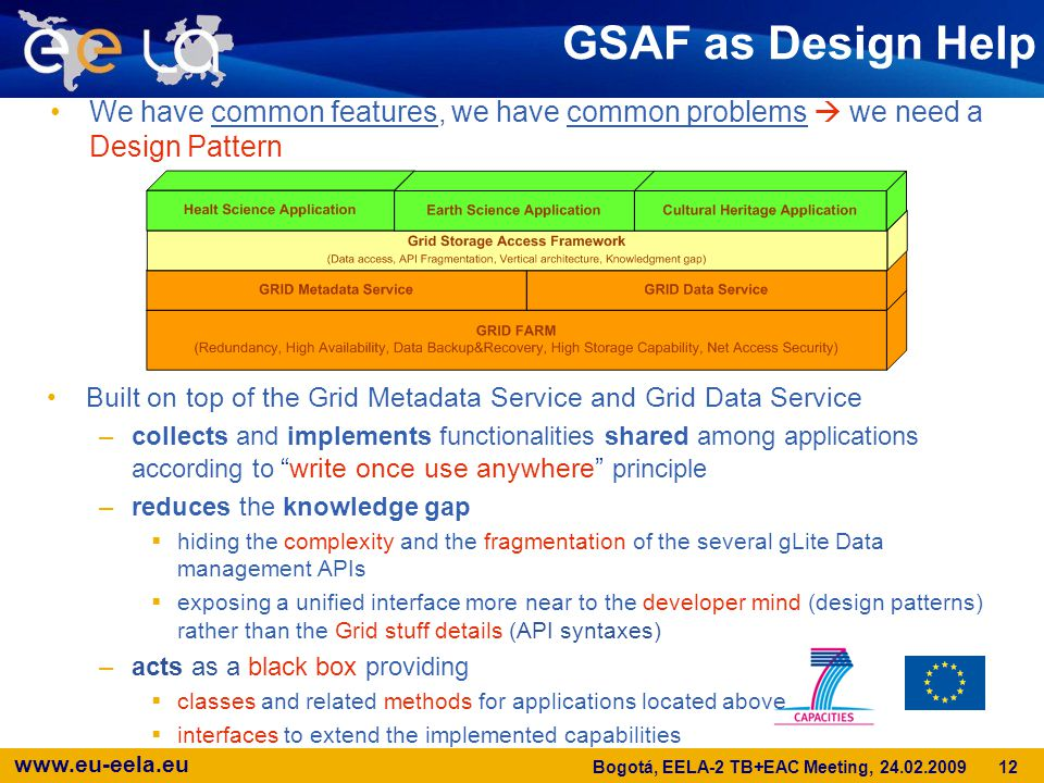 www.eu-eela.eu GSAF as Design Help We have common features, we have common problems  we need a Design Pattern Built on top of the Grid Metadata Service and Grid Data Service –collects and implements functionalities shared among applications according to write once use anywhere principle –reduces the knowledge gap  hiding the complexity and the fragmentation of the several gLite Data management APIs  exposing a unified interface more near to the developer mind (design patterns) rather than the Grid stuff details (API syntaxes) –acts as a black box providing  classes and related methods for applications located above  interfaces to extend the implemented capabilities 12 Bogotá, EELA-2 TB+EAC Meeting, 24.02.2009