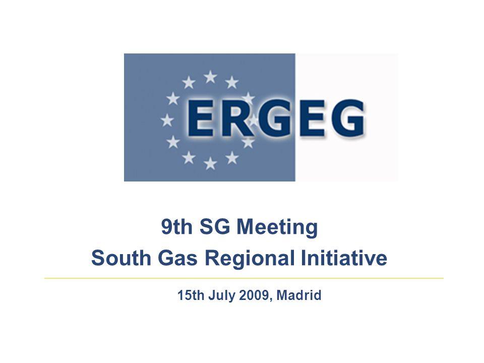 9th SG Meeting South Gas Regional Initiative 15th July 2009, Madrid