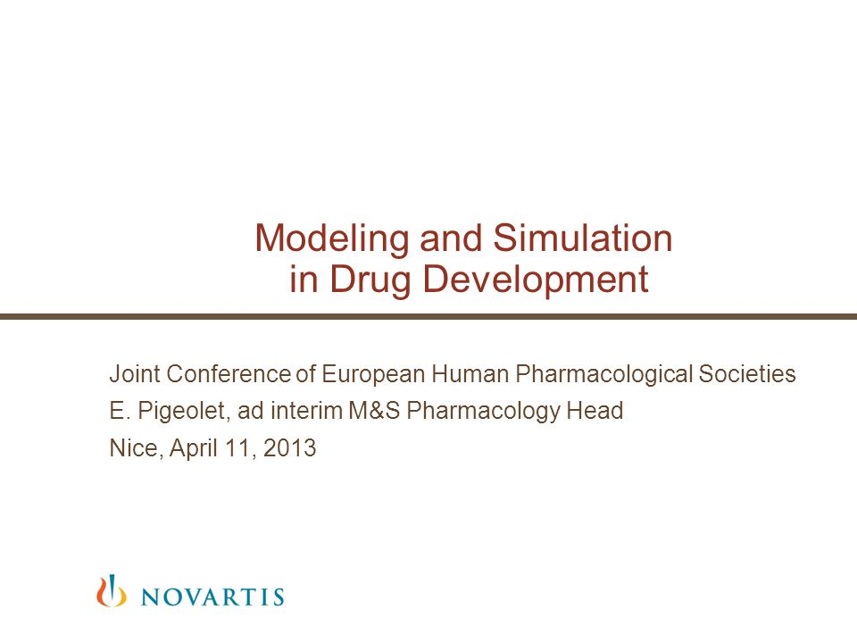  In the context of increasing the R&D productivity, Modeling and Simulation (M&S) techniques are quantitative integrative tools allowing to help better decision making for drug development  Introduction: Context and overview of M&S benefit  Three examples of M&S contributions in different drug development spaces  Cautions  Conclusions | M&S in drug development | E Pigeolet |Nice, April 11, 2013 | Joint meeting European Human Pharmacology Societies2 Overview