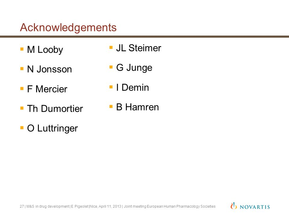 Acknowledgements  M Looby  N Jonsson  F Mercier  Th Dumortier  O Luttringer | M&S in drug development | E Pigeolet |Nice, April 11, 2013 | Joint