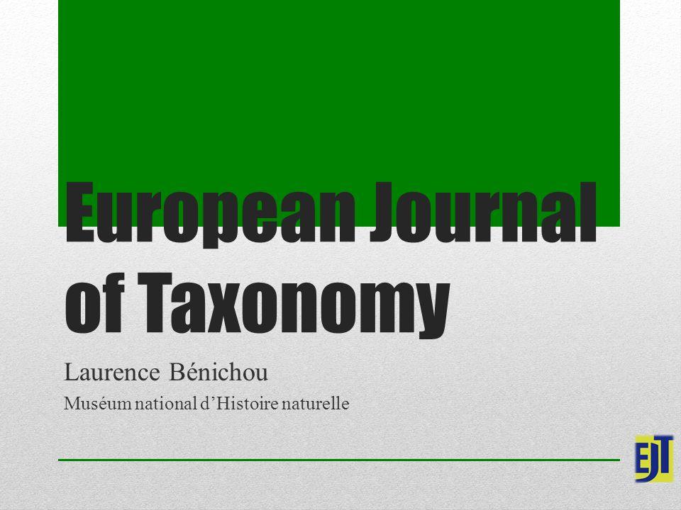 European Journal of Taxonomy Laurence Bénichou Muséum national d'Histoire naturelle
