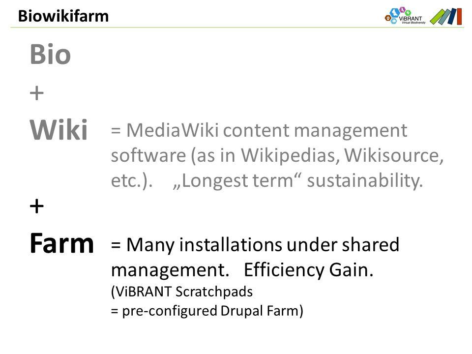 Biowikifarm Bio + Wiki + Farm = MediaWiki content management software (as in Wikipedias, Wikisource, etc.).