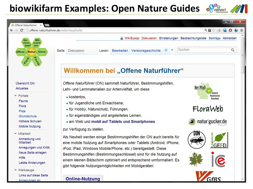 biowikifarm Examples: Open Nature Guides