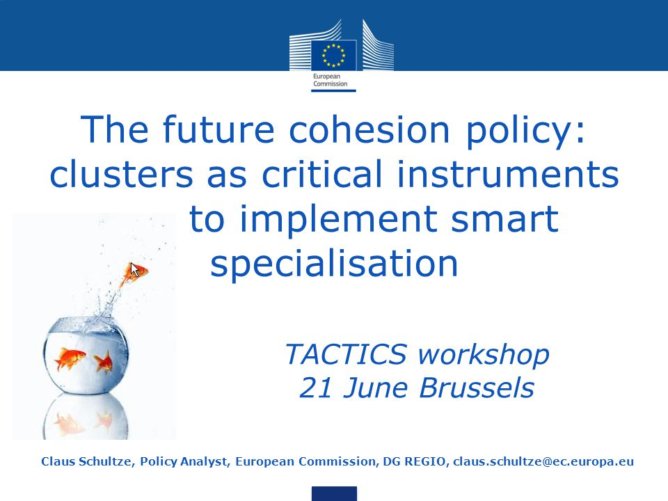 The future cohesion policy: clusters as critical instruments to implement smart specialisation Claus Schultze, Policy Analyst, European Commission, DG