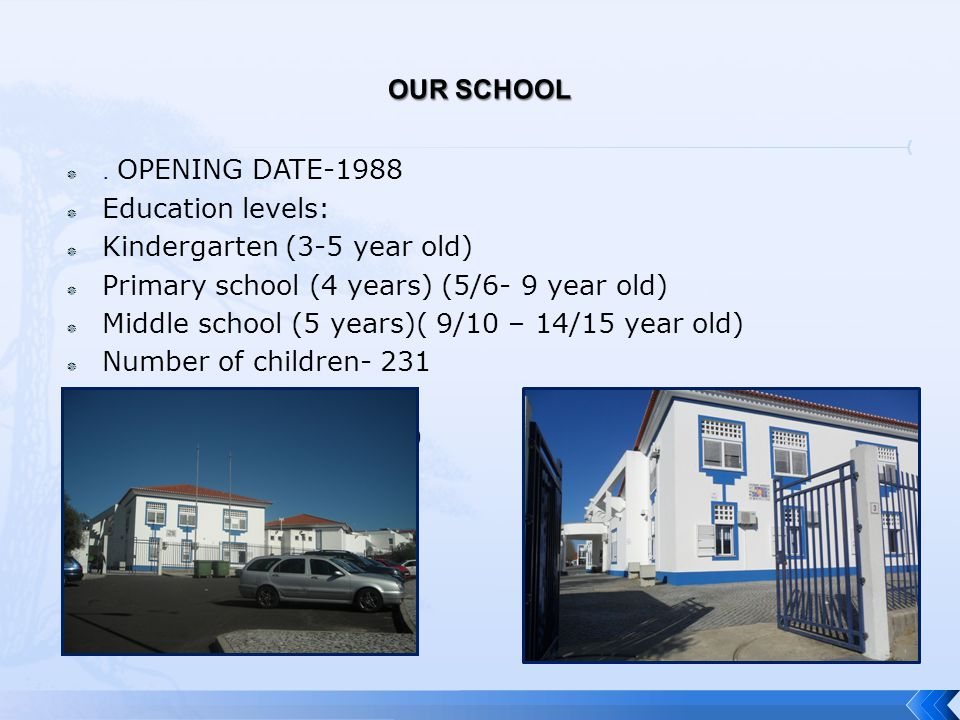 . OPENING DATE-1988  Education levels:  Kindergarten (3-5 year old)  Primary school (4 years) (5/6- 9 year old)  Middle school (5 years)( 9/10 –