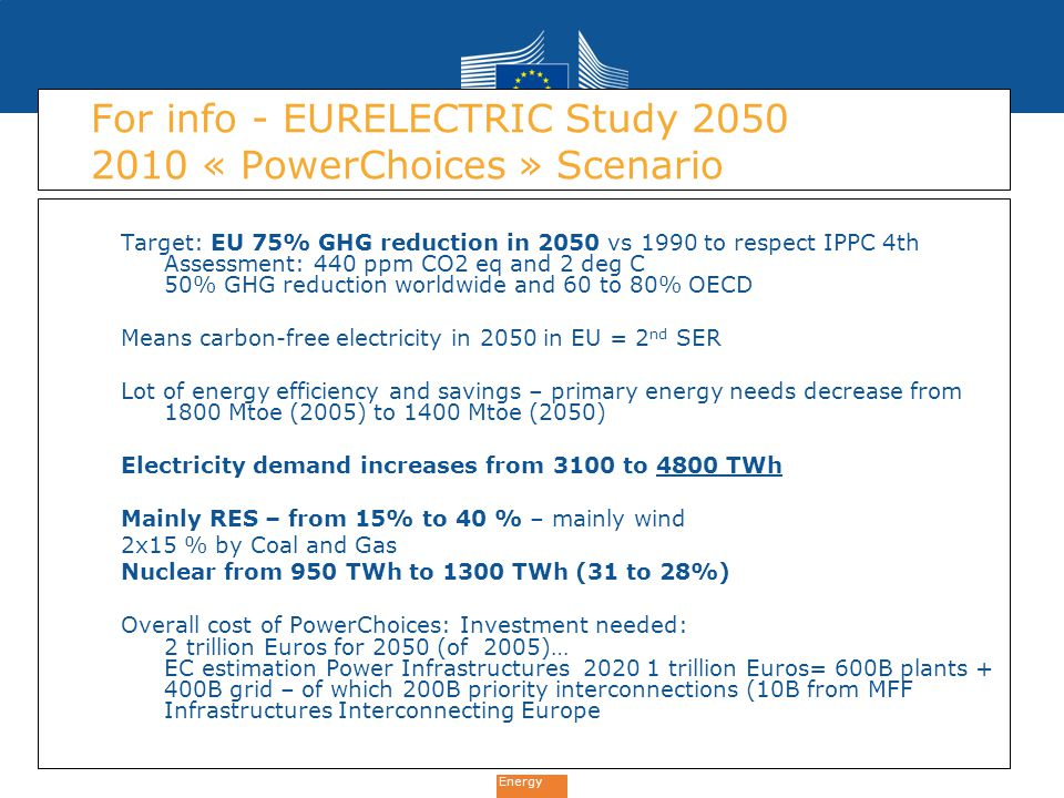 Energy For info - EURELECTRIC Study 2050 2010 « PowerChoices » Scenario Target: EU 75% GHG reduction in 2050 vs 1990 to respect IPPC 4th Assessment: 4