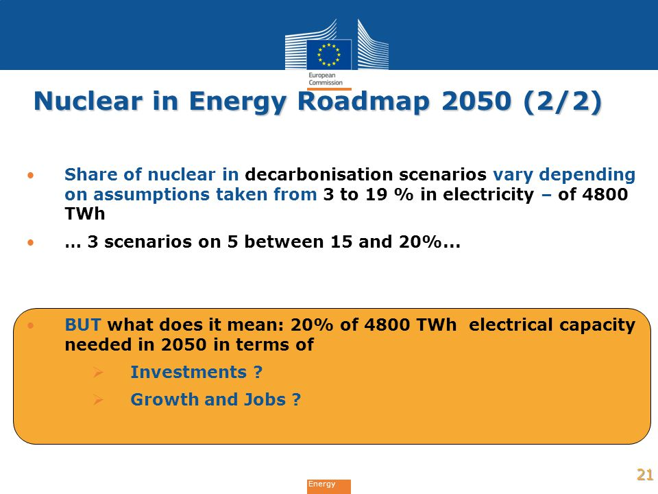 Energy Nuclear in Energy Roadmap 2050 (2/2) Share of nuclear in decarbonisation scenarios vary depending on assumptions taken from 3 to 19 % in electr