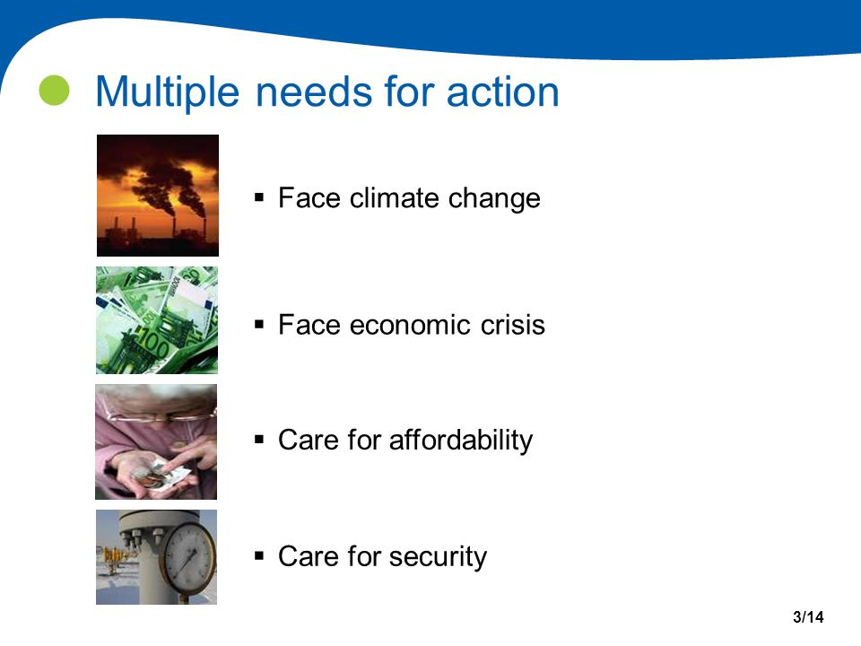 Multiple needs for action  Face climate change 3/14  Face economic crisis  Care for affordability  Care for security