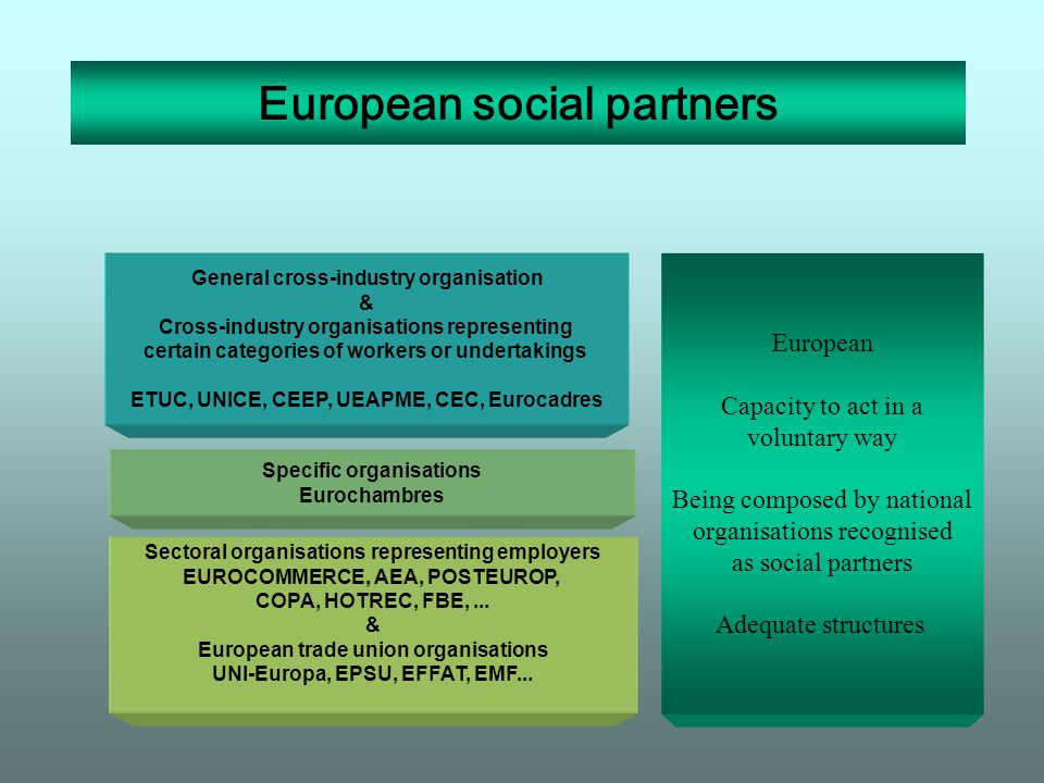 European social partners General cross-industry organisation & Cross-industry organisations representing certain categories of workers or undertakings ETUC, UNICE, CEEP, UEAPME, CEC, Eurocadres Sectoral organisations representing employers EUROCOMMERCE, AEA, POSTEUROP, COPA, HOTREC, FBE,...