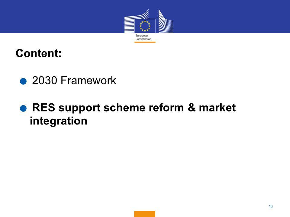 10 Content:. 2030 Framework. RES support scheme reform & market integration