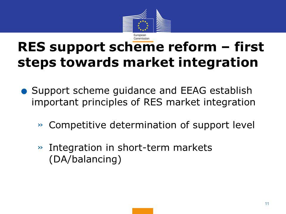 11 RES support scheme reform – first steps towards market integration.
