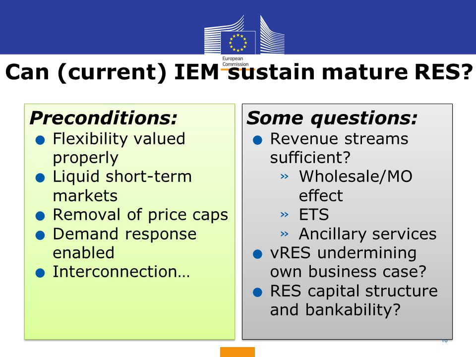 18 Can (current) IEM sustain mature RES? Preconditions:. Flexibility valued properly. Liquid short-term markets. Removal of price caps. Demand respons