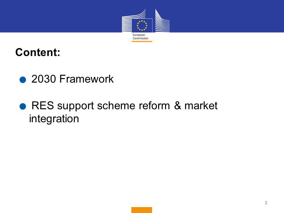 2 Content:. 2030 Framework. RES support scheme reform & market integration
