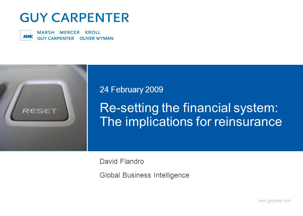 www.guycarp.com Re-setting the financial system: The implications for reinsurance 24 February 2009 David Flandro Global Business Intelligence
