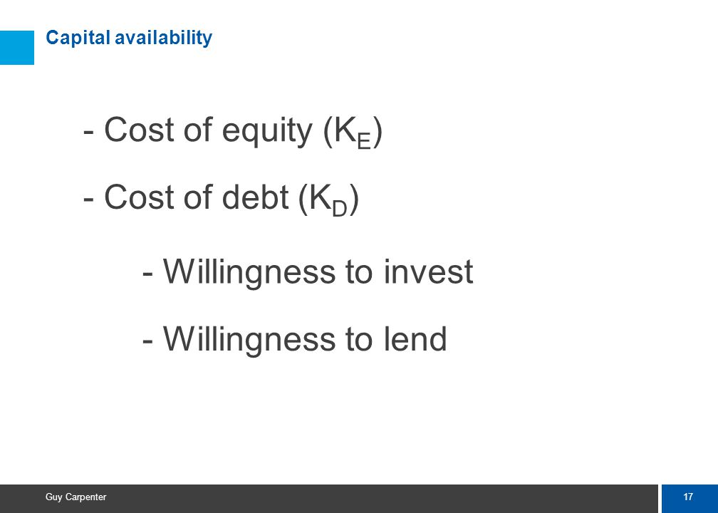 17 Guy Carpenter Capital availability - Cost of equity (K E ) - Cost of debt (K D ) - Willingness to invest - Willingness to lend