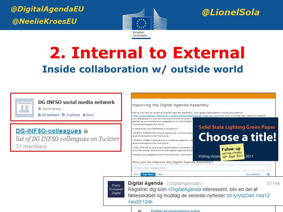 2. Internal to External @DigitalAgendaEU @NeelieKroesEU @LionelSola Inside collaboration w/ outside world
